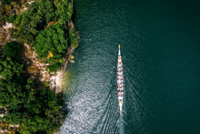 Overhead View Of Dragonboat On The Lake