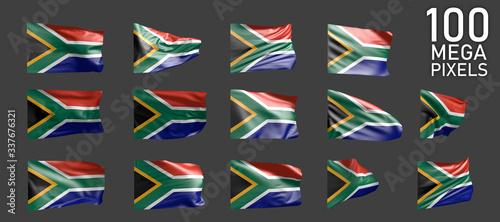 South Africa flag isolated - various realistic renders of the waving flag on gre Wallpaper Mural