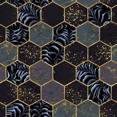 Panel Szklany Podświetlane Wzory geometryczne Marble hexagon seamless texture with gold. Tropical plants background