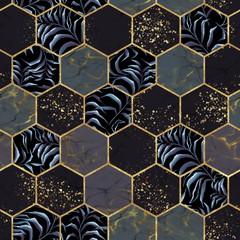 Fototapeta Wzory geometryczne Marble hexagon seamless texture with gold. Tropical plants background