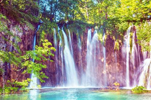 Incredibly beautiful fabulous magical landscape with a waterfall in Plitvice, Croatia (harmony meditation, antistress - concept) © anko_ter
