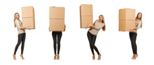 Woman With Boxes Relocating To...