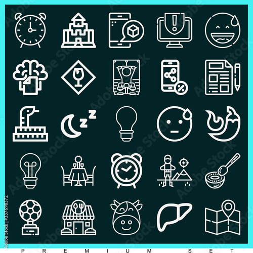 Photo Set of 25 arousal outline icons