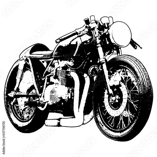 motorcycle on white background cafe racer Canvas Print
