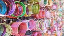 Full Frame Shot Of Colorful Bangles At Market For Sale
