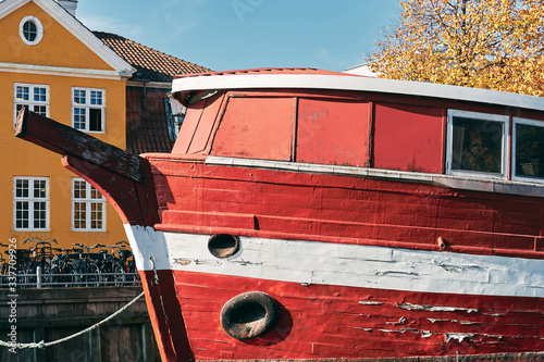 old red and white ship in Copenhagen Canvas Print
