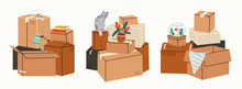 Moving Concept.Set Of Three Stacks. Cardboard Boxes With Various Things From House, Gold Fish Aquarium, Cat, Lamp. Hand Drawn Colored Vector Isolated Illustrations. Cartoon Style, Trendy Design