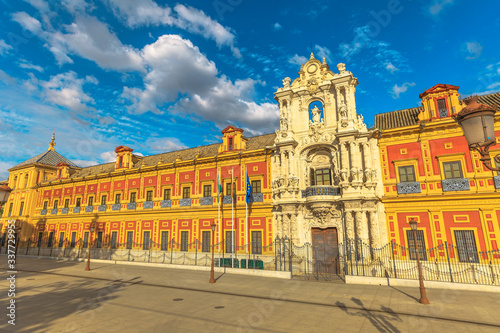 Aerial view of Palace of San Telmo, seat of presidency of Andalusian government, Seville, Andalusia, Spain Canvas-taulu