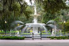 Savannah, Georgia, USA - January 19, 2020: Forsyth Park Fountain In Savannah, Georgia, USA,