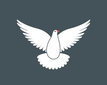 White Dove Logo. Isolated Dove...