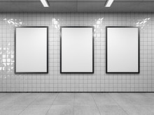 Three Blank Poster In Public P...