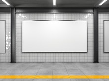 Blank Horizontal Big Poster In Public Place. Billboard Mockup On Subway Station. 3D Rendering.