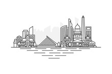Buenos Aires, Argentina Architecture Line Skyline Illustration. Linear Vector Cityscape With Famous Landmarks, City Sights, Design Icons. Landscape With Editable Strokes Isolated On White Background