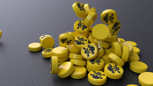 Many Yellow Tablets With An Image Of Skull Isolated On Black Background, Conceptual Image. 3d Render With Depth Of Field.