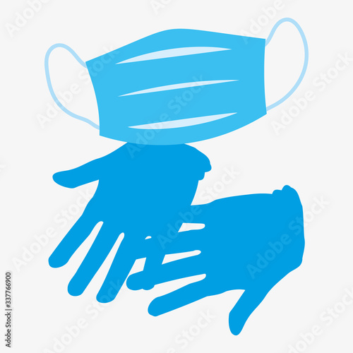 Fototapeta Vector illustration of safety gloves and medical mask