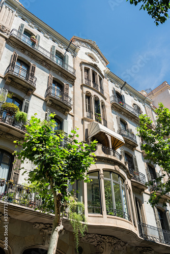 Detail Of Beautiful Facade Building Architecture In City Of Barcelona, Spain Canvas Print