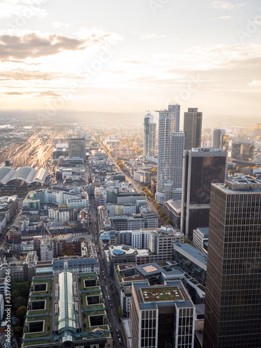 View on to the Frankfurt Skyline from Maintower in Mainhatten, Frankfurt, Germany Wall mural