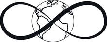 Elegant Infinity Sign With Planet Globe, Vector Illustration