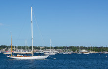 Newport Harbor With Two-masted Sailing Ship In Foreground