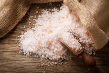 Pink Himalayan Salt On A Woode...