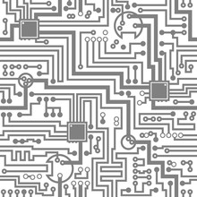 Circuit Board Electronic Hi Tech Seamless Pattern. Vector Computer Chip Background
