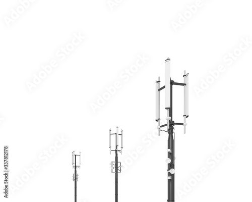 Fotografering Antenna, transmitter isolated on white background