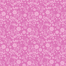 Seamless Flower Pattern, Pink Background Color In Vector, Wallpaper, Fabric, Packaging