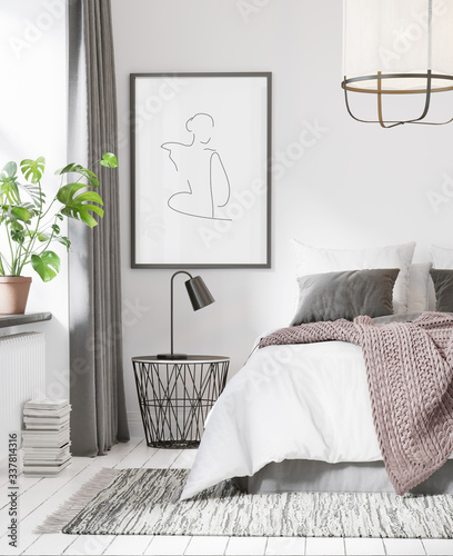 Fototapeta 3d rendering of a white Scandinavian bedroom with ceiling lamp, a monstera plant