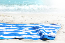 Beach Towel On Sand Sea View Background Empty Space Display,tourism Jorney Backdrop.