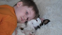 A Little Boy In An Orange T-shirt, Cat And Pants Lies In His Bedroom On A Small Dog Of White And Brown Color, On A Bed Covered With A Cream Blanket, And Lovingly Embraces The Puppy. The Dog Looks