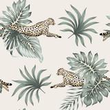 Rocznik tropikalna palma opuszcza, gepard działającej przyrody zwierzęcy kwiecisty bezszwowy deseniowy z kości słoniowej tło. Tapeta egzotycznej dżungli. - 337853700