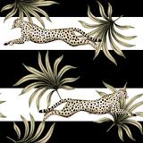 Vintage tropikalny liści palmowych, gepard działa dzikiej przyrody zwierząt kwiatowy wzór w paski. Tapeta egzotycznej dżungli. - 337853734