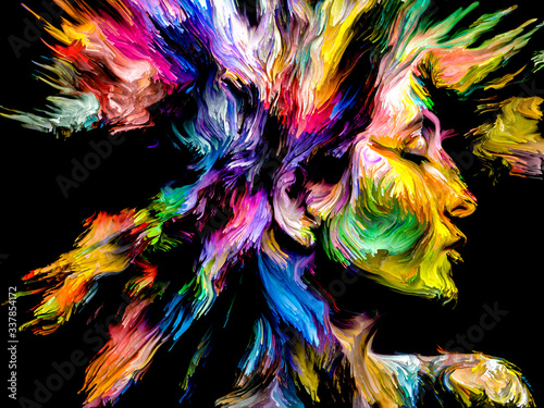 Abstract Portrait of Young Lady Wallpaper Mural