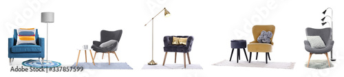 Set of different armchairs with decorative pillows on white background. Banner design