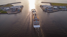 Aerial Photography Of A Liner Sailing Through The Dam Gate In The Gulf Of Finland.