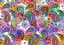 Colorful Paisley Pattern With Fabric Texture