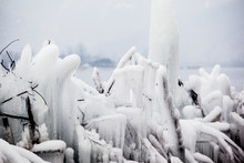 Frozen Ice By Fountain In Bukhan River