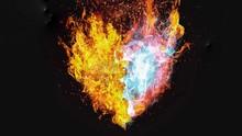 暗闇を照らす抽象的な火のハート