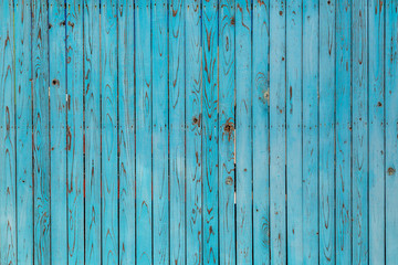 青色の古びた板塀。背景用素材
