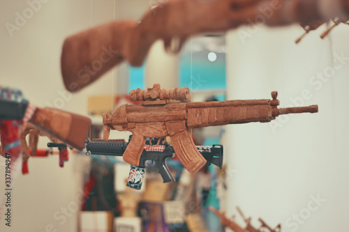 Close-up Of Guns For Sale Canvas Print