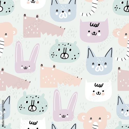 Childish seamless pattern with different animals Fototapet