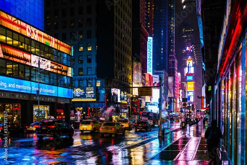 Illuminated City Street At Night - fototapety na wymiar