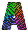 3D illustration Tiger black rainbow print letter A, animal skin fur decorative character A, Tiger 7 colors pattern isolate in white background has clipping path. Design font wildlife safari concept.