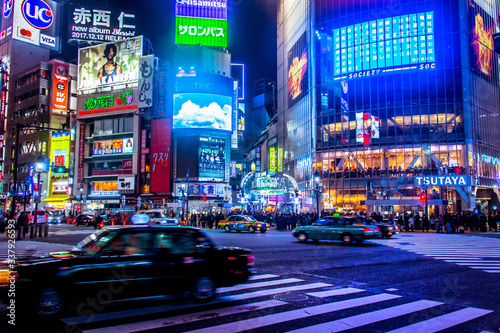 View Of City Street At Night - fototapety na wymiar