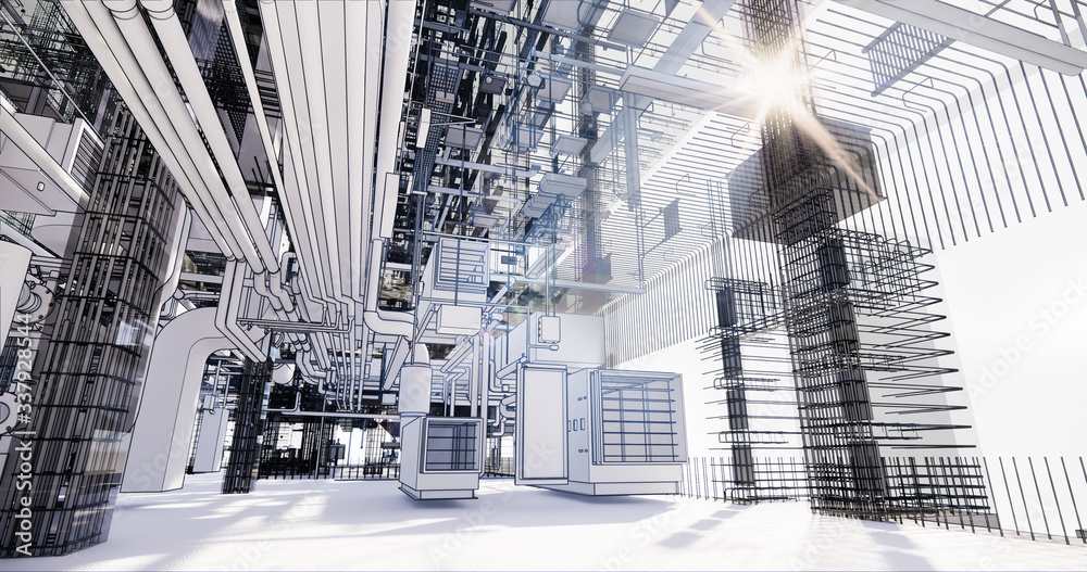 Fototapeta BIM model conceptual visualization of the utilities of the building