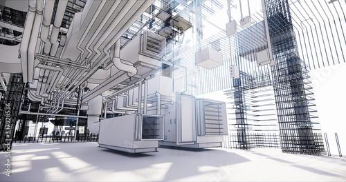 Fototapeta BIM model conceptual visualization of the utilities of the building obraz