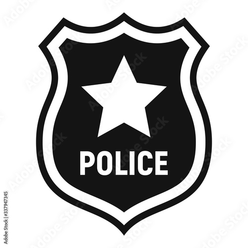 Obraz Police badge icon. Simple illustration of police badge vector icon for web design isolated on white background - fototapety do salonu