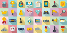 Gamification Icons Set. Flat S...