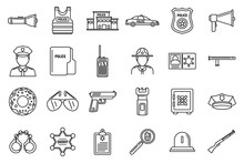 Police Station Equipment Icons...