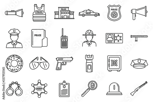 Photo Police station equipment icons set